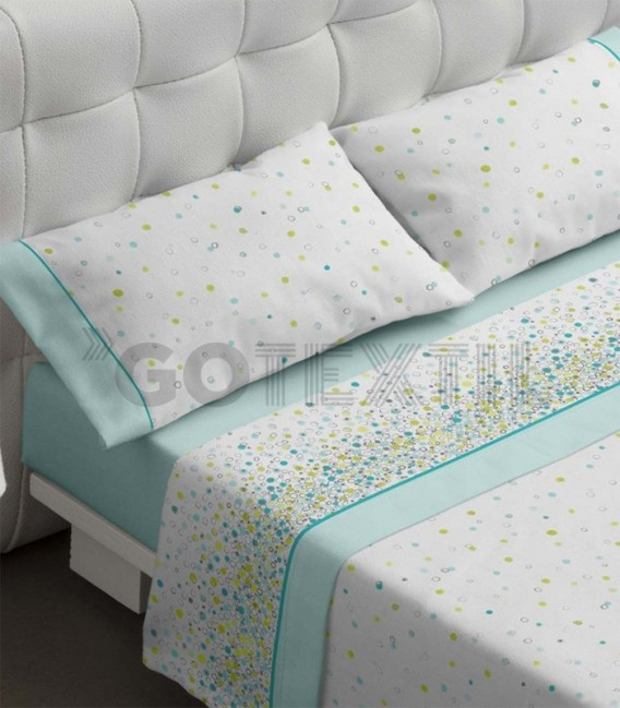 Juego de sábanas modelo 460 color turquesa fabricado por Burrito Blanco