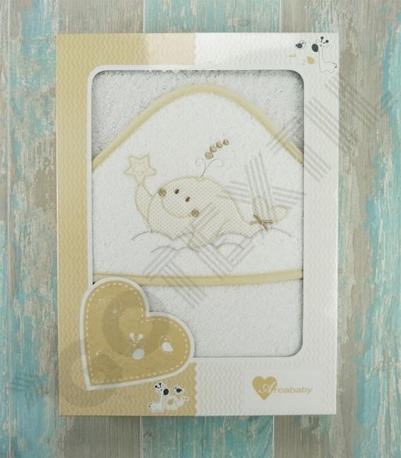 Caja de la Capa de baño Ballenita algodón 100% Arcababy 100x100cm