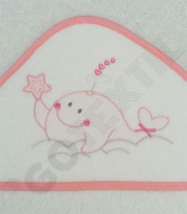 Detalle de la Capa de baño Ballenita algodón 100% Arcababy 100x100cm