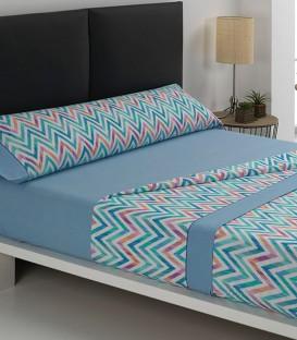Juego de sábanas F 58 Azul Textils Mora