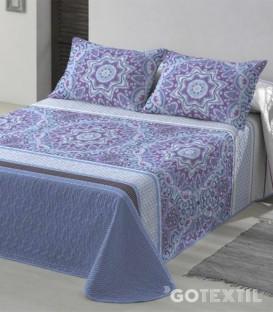 Detalle de la Colcha Bouti Estampada modelo GANDY Azul Platinium