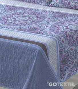Detalle del tejido de la Colcha Bouti Estampada modelo GANDY Azul Platinium