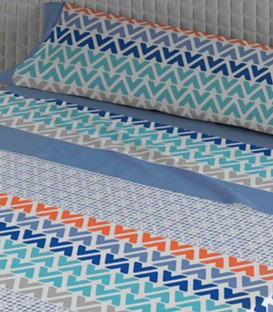 Detalle del Juego de Sábanas Verano CAPRI Azul de Karamelo