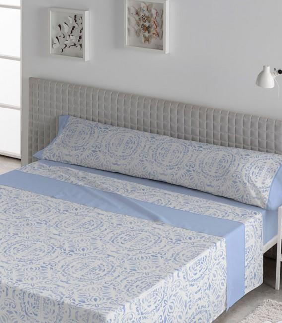 Juego de Sábanas Verano Algodón 100% modelo SANOA Azul de Karamelo