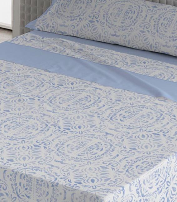 Detalle del Juego de Sábanas Verano Algodón 100% modelo SANOA Azul de Karamelo