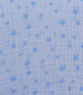 Detalle de la Muselina 100% Algodón 5647 Estrellitas Azul 120x120cm