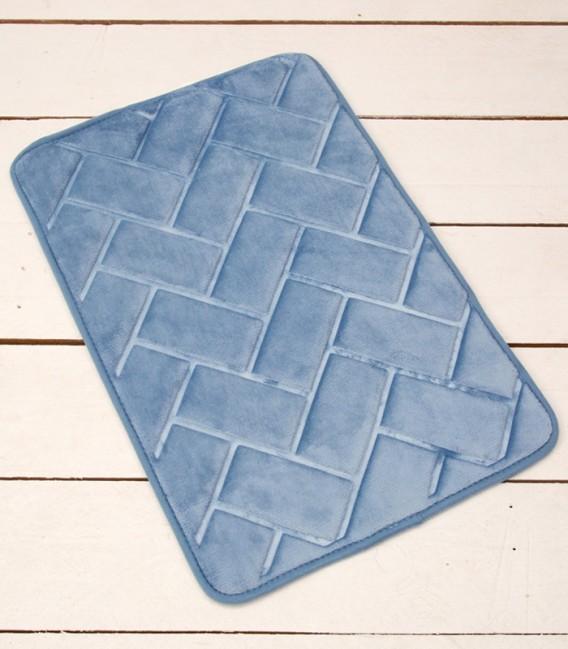 Alfombra de baño Microfibra Modelo Ladrillos Color Azul
