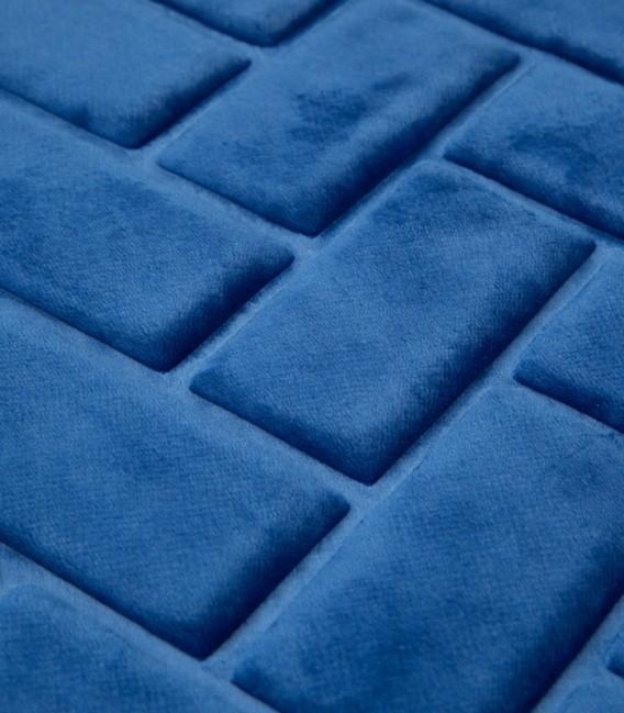 Detalle de la Alfombra de baño Microfibra Modelo Ladrillos Color Azulón