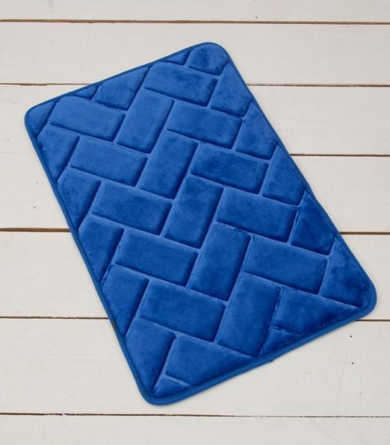 Alfombra de baño Microfibra Modelo Ladrillos Color Azulón
