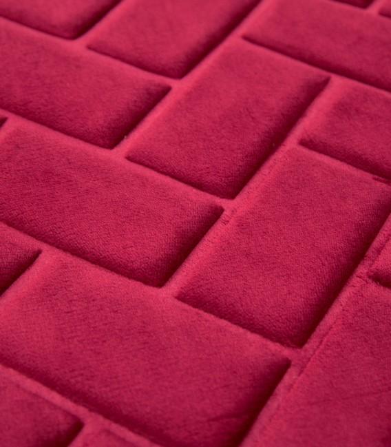 Detalle de la Alfombra de baño Microfibra Modelo Ladrillos Color Granate