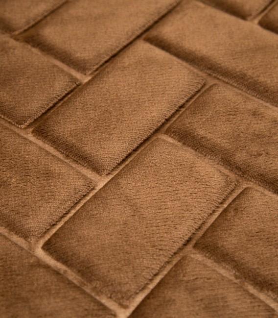 Detalle de la Alfombra de baño Microfibra Modelo Ladrillos Color Marrón