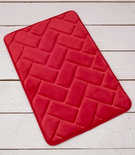 Alfombra de baño Microfibra Modelo Ladrillos Color Rojo