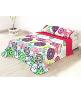 Vista Previa de la Colcha Bouti Estampada GROVE Fucsia Home'secret