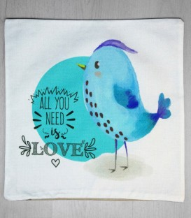 Fundas de Cojín Pollito Love Color Azul