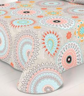 Detalle del tejido de la Colcha Bouti Estampada KASIA Beige Home'secret