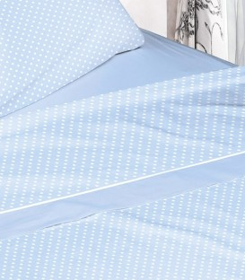 Detalle del tejido del Juego de Sábanas Burrito Blanco 673 Azul Algodón 100%