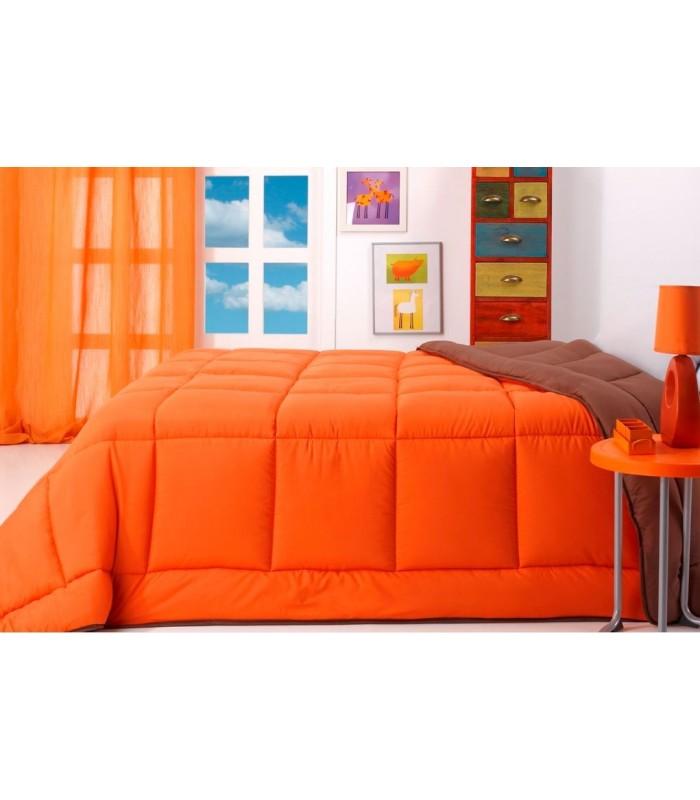 Edredón nórdico reversible de microfibra modelo Bicolor marrón/naranja