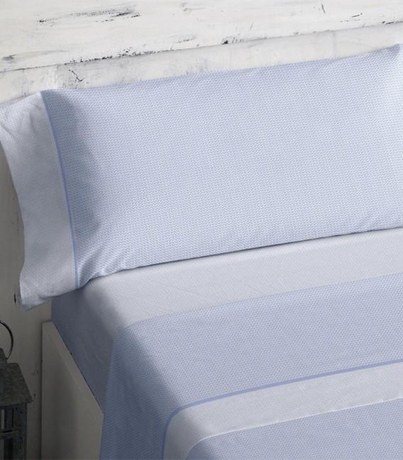 Detalle del colorido del Juego de sábanas 466 Azul Burrito Blanco