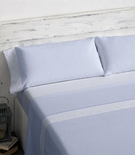 Vista Previa del Juego de sábanas 466 Azul Burrito Blanco