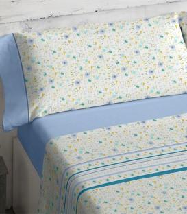 Detalle del colorido del Juego de sábanas 464 Azul Burrito Blanco