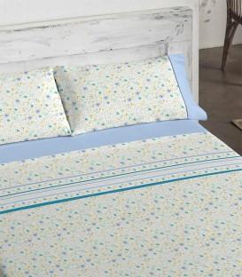 Vista Previa del Juego de sábanas 464 Azul Burrito Blanco