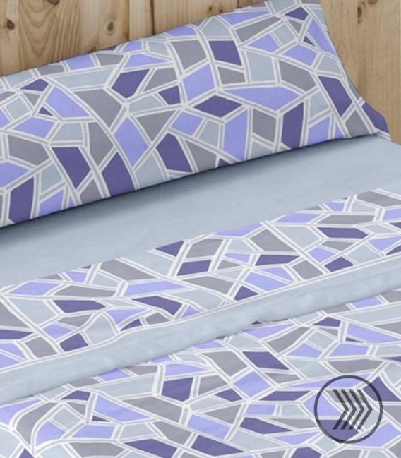 Colorido del Juego de Sábanas Coralina Dorvel 737 Azul. Burrito Blanco