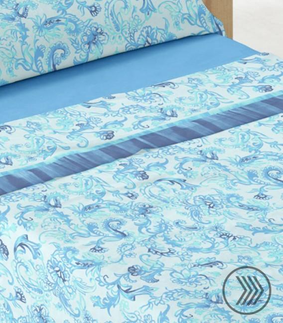 Detalle del Tejido del Juego de Sábanas Coralina Dorvel 738 Azul. Burrito Blanco