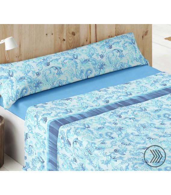 Vista Previa del Juego de Sábanas Coralina Dorvel 738 Azul. Burrito Blanco