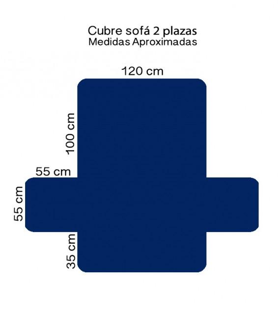 Medidas 2 Plazas de la Funda Cubre Sofá 65540 Azulón Home Secret