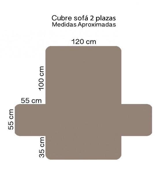 Medidas 2 Plazas de la Funda Cubre Sofá 65540 Beige Home Secret