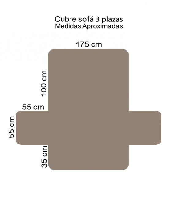 Medidas 3 Plazas de la Funda Cubre Sofá 65540 Beige Home Secret