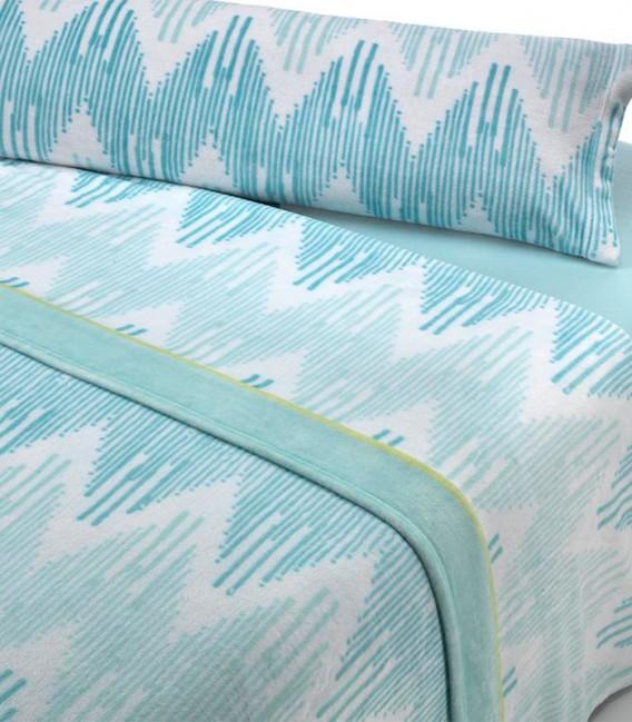 Detalle del Juego de Sábanas Invierno MICROCORAL G25 Azul Textils Mora