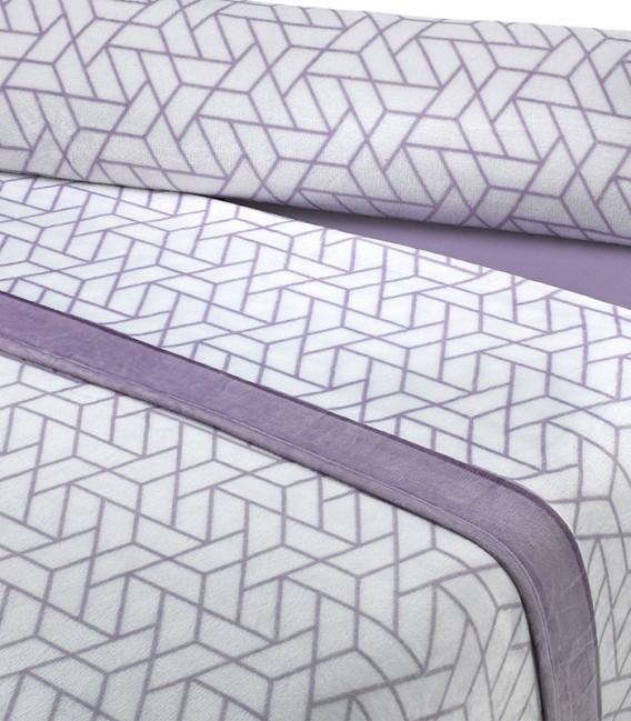 Detalle del Juego de Sábanas Invierno MICROCORAL G26 Morado Textils Mora