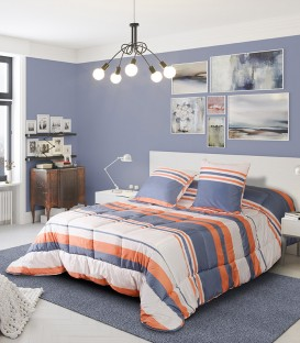 Vista Previa del Edredón Conforter Rayas Reversible BONN Algodón Blanco