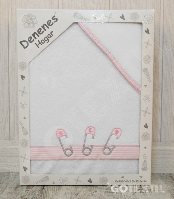 Caja de Presentación del Juego de Cuna Microlina modelo Imperdibles blanco/rosa Denenes