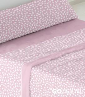 Detalle del tejido y dibujo del Juego de Sábanas Coralina 946 Rosa Cama de 105 Burrito Blanco