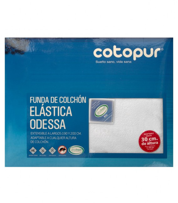 Vista Empaquetado de la Funda de colchón Odessa blanco de rizo elástico de algodón
