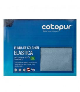 Empaquetado de la Funda de colchón Mistral azul de rizo elástico de algodón