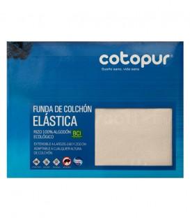 Empaquetado de la Funda de colchón Mistral beige de rizo elástico de algodón