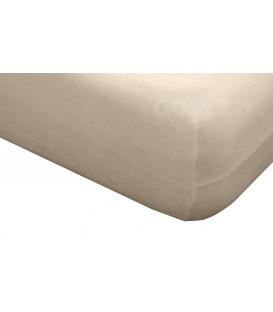 Funda de colchón Mistral beige de rizo elástico de algodón