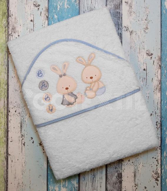 Capa de Baño Conejitos Baby blanco/azul 100x100cm de Interbaby