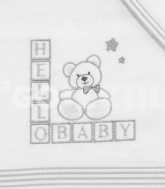 Detalle del Bordado del Juego de Cuna Franela Algodón 100% gris modelo Hello Baby Denenes