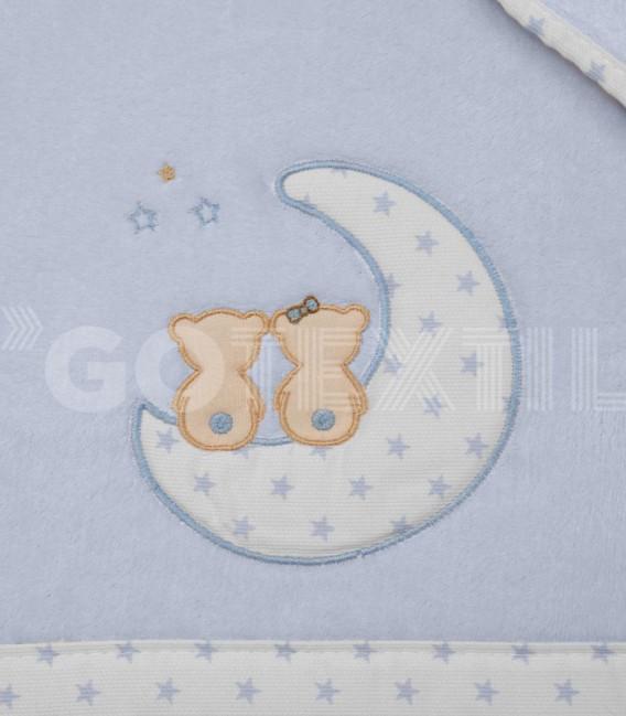 Detalle del Tejido del Juego de Minicuna y Coche Microlina azul modelo Luna Enamorados Denenes