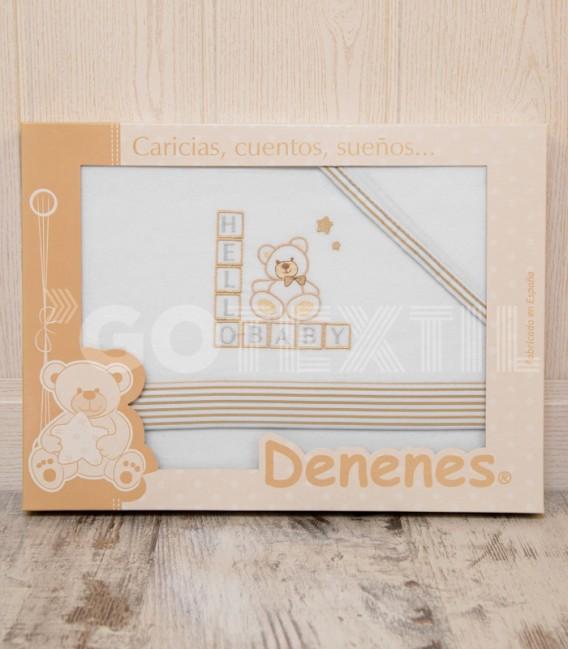 Presentación en Caja del Juego de Minicuna y Coche Franela 100% Algodón color blanco/beig modelo Hello Baby Denenes