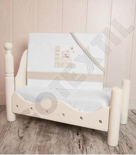 Juego de Minicuna y Coche Franela 100% Algodón color blanco/beig modelo Hello Baby Denenes
