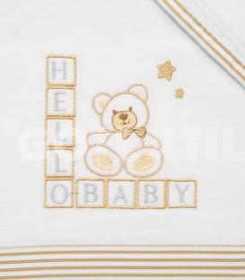 Detalle del Bordado del Juego de Minicuna y Coche Franela 100% Algodón color blanco/beig modelo Hello Baby Denenes
