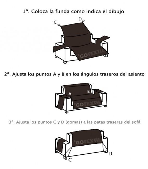 INSTRUCCIONES DE COLOCACIÓN DE LA FUNDA CUBRE SOFÁ REVERSIBLE BICOLOR 65539 CHOCOLATE / CREMA HOME SECRET