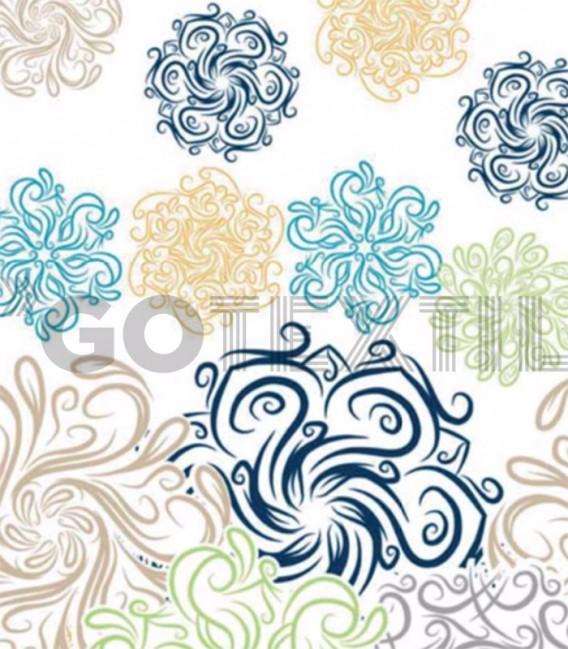 Detalle del Estampado de la Colcha Bouti Estampada ELI Color Azul. Home'secret