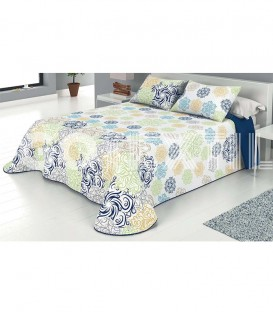 Colcha Bouti Estampada ELI Color Azul. Home'secret