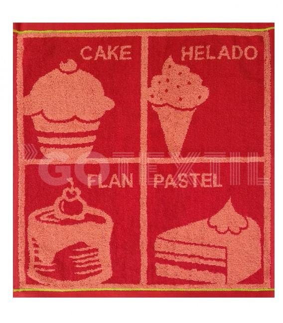 Paño de Cocina Trovador Modelo 259 POSTRES Color Rojo